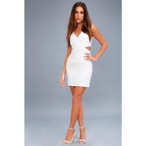 Lulus Backstage Pass White Sleeveless Cutout Dress